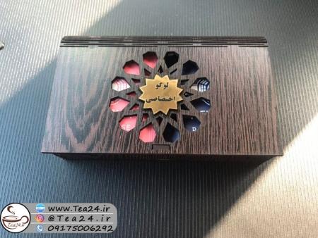 جعبه پذیرایی چوبی لیزری دو خانه