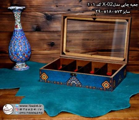 فروش اینترنتی جعبه پذیرایی چوبی چاپی درب شیشه ای